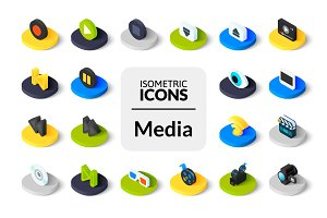 Isometric icons - Media