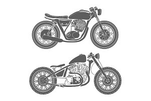 Hand Drawn Vintage Motorcycles