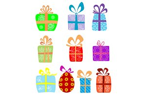 Holiday gifts with ribbons