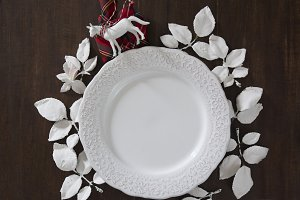 Christmas table setting, white sheet