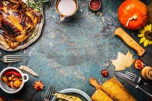 Thanksgiving Day dinner table
