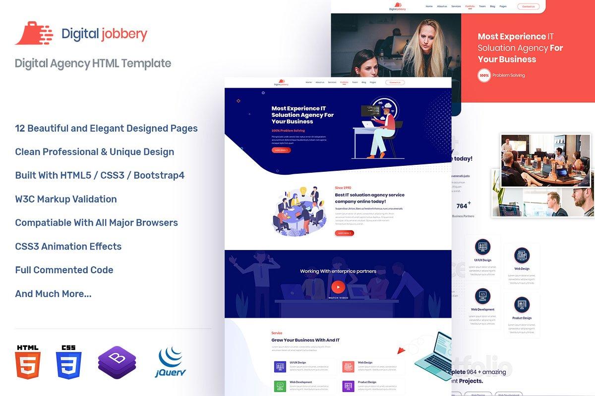 Jobbery Agency HTML Template