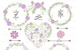 Hand Drawn clipart wreaths floral