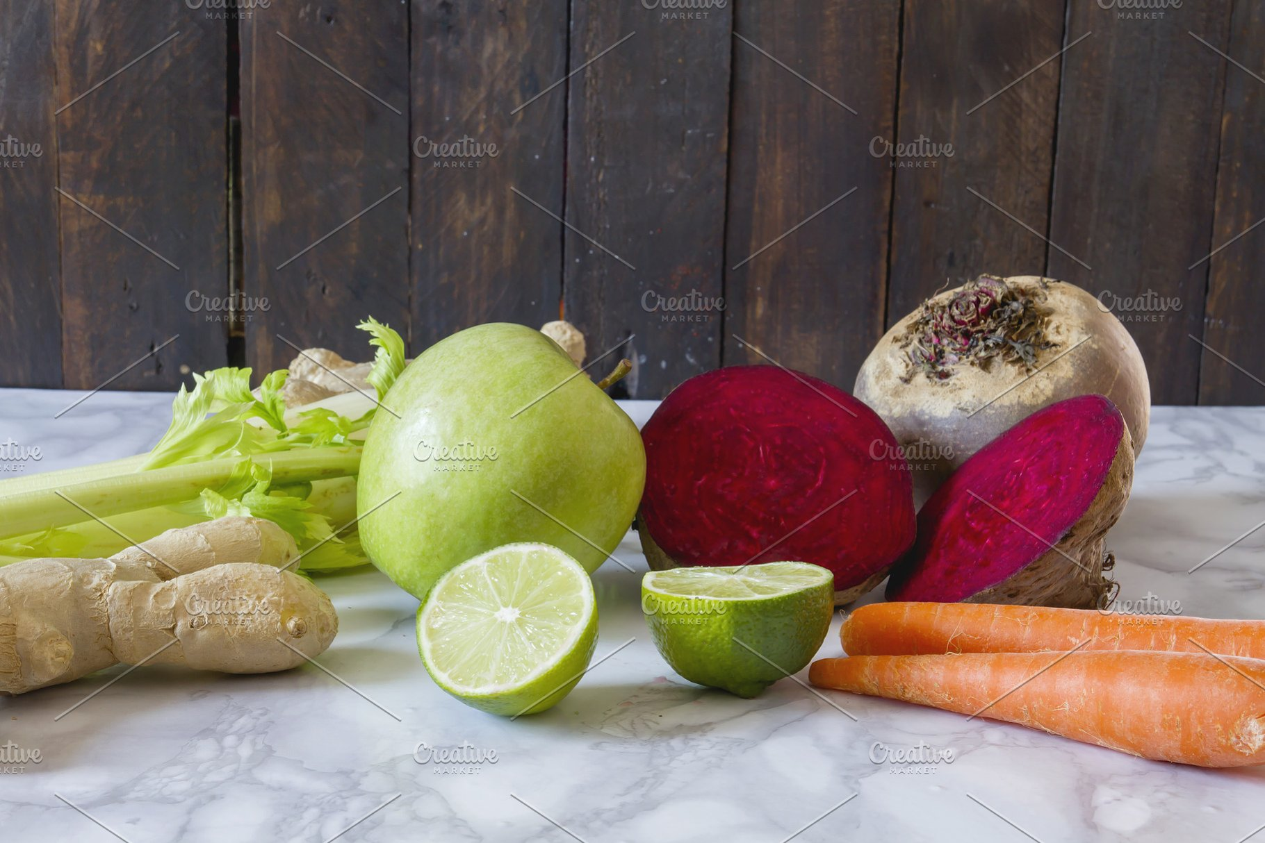 Fresh ingredients for detox smoothie