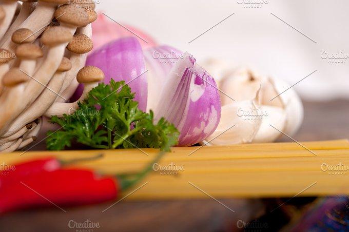 Italian pasta and mushrooms sauce ingredients 003.jpg - Food & Drink