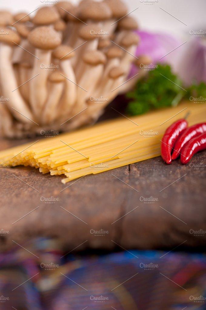 Italian pasta and mushrooms sauce ingredients 009.jpg - Food & Drink