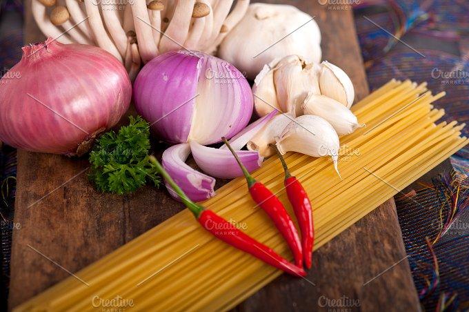 Italian pasta and mushrooms sauce ingredients 024.jpg - Food & Drink