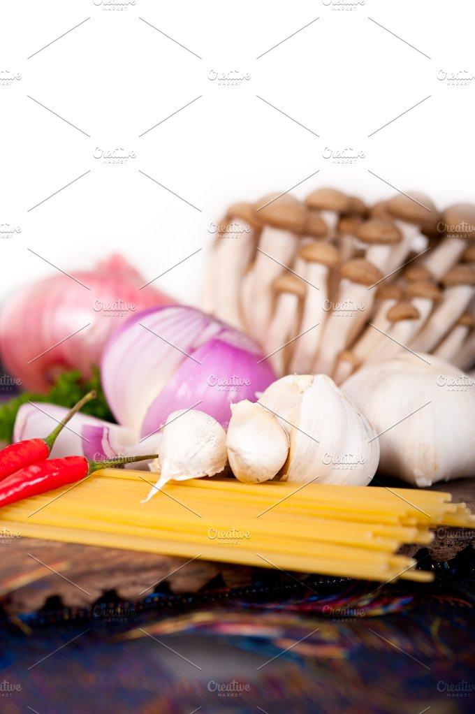 Italian pasta and mushrooms sauce ingredients 032.jpg - Food & Drink