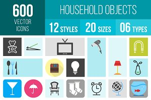 600 Household Objects Icons