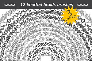 12 knotted braids brushes. Package 3