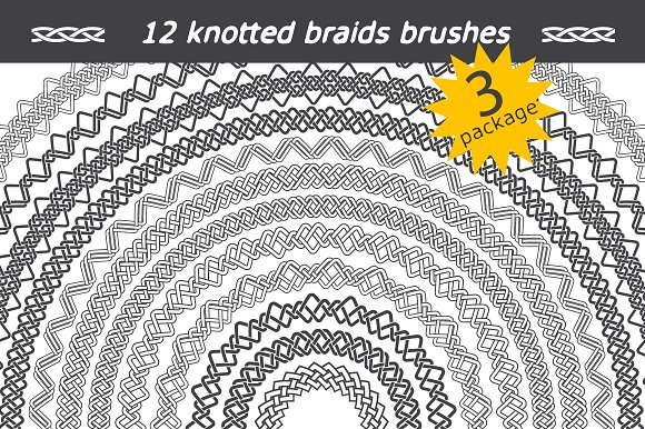 12 knotted braids brushes. Package 3 - Brushes