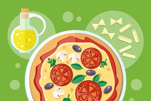 Italian Food. Pizza with Ingredients