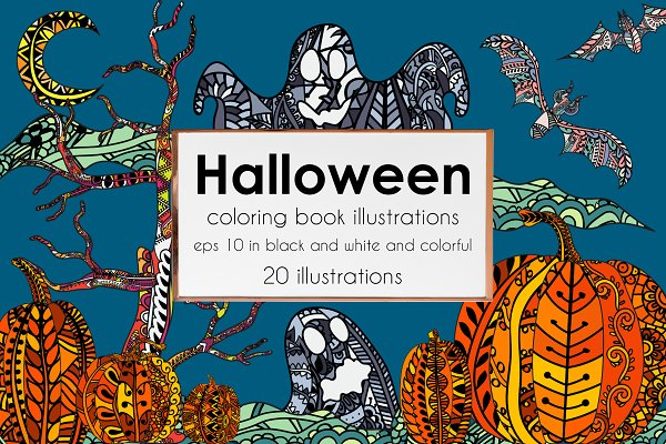 Halloween coloring illustrations