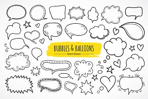 Bubbles and balloons. Hand drawn.