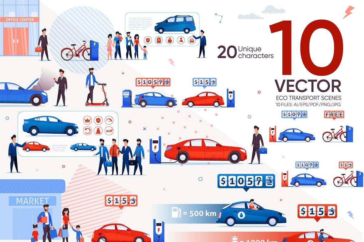 Eco Transport Vector Scenes