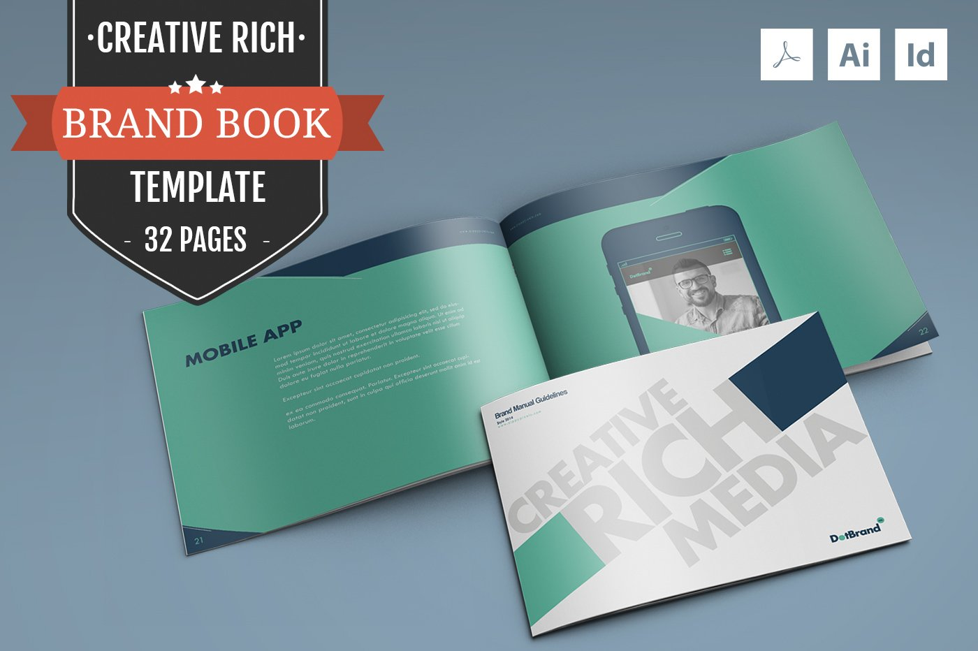 Free Creative Book Cover Template : Creative rich brand book template brochure templates