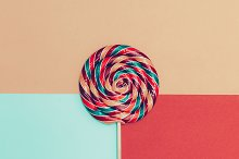 Lollipop on bright background