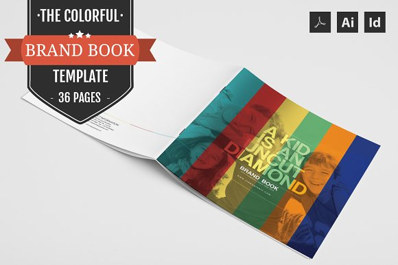 the colorful brand book template brochures