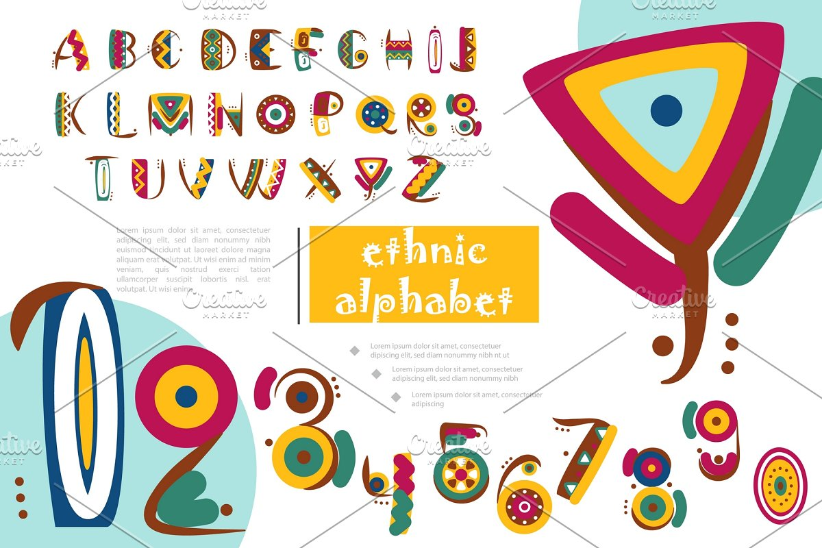 Ethnic Alphabet Template Custom Designed Icons Creative Market