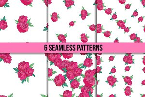 Seamless patterns with peonies