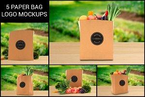 5 Grocery Paper Bag Logo Mockups
