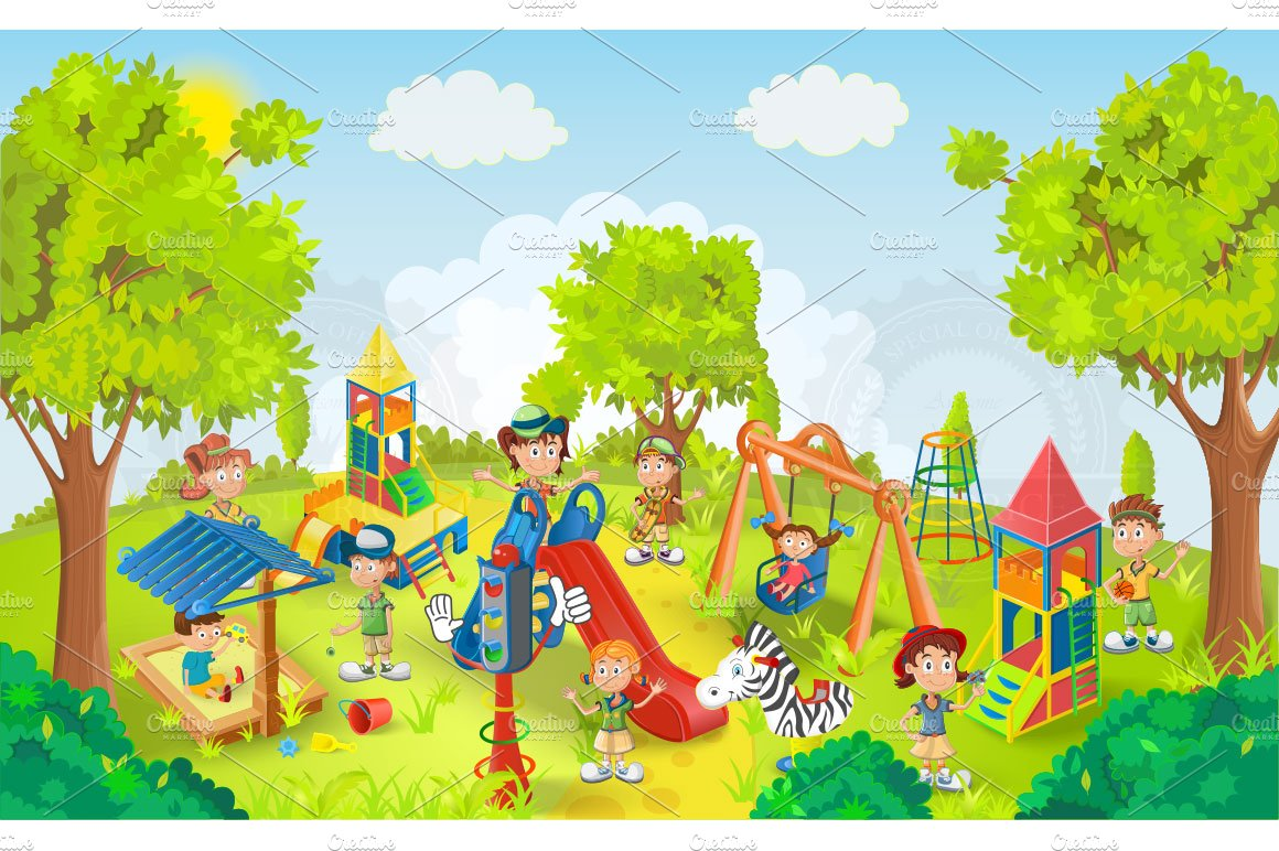 Children playing in the park vector ~ Illustrations ...
