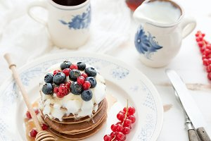 Buckwheat pancakes with berries