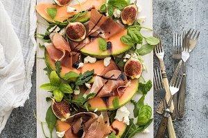 Prosciutto, melon, fig & soft cheese