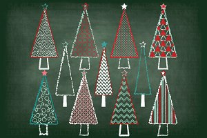Chalkboard Christmas Tree Clipart