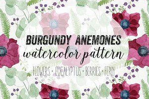 Burgundy Anemones Watercolor Pattern