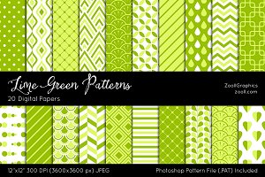 Lime Green Digital Papers