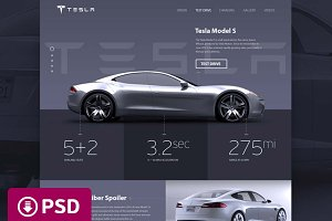 Tesla Promosite Concept — PSD Only!