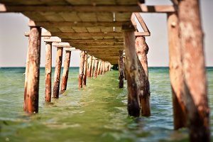 Under a Wood Pier at the Black Sea
