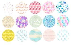 Abstract watercolor pattern set