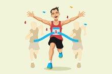 Man winning a race