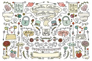 Doodle vintage romantic elements