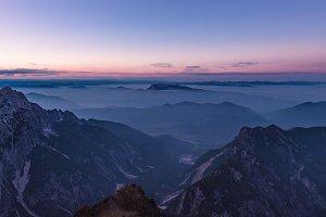 Dark & misty sunset in the alps