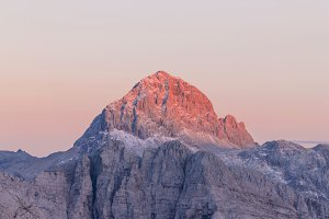 Sunset over the alpine peak