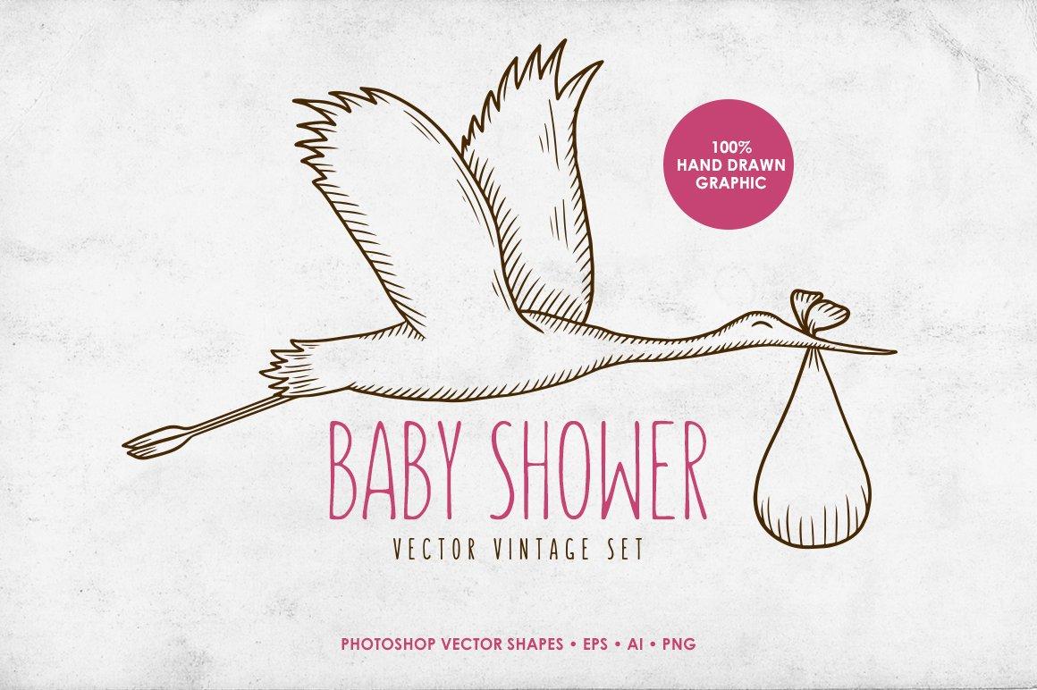Baby Shower Vintage Set Illustrations Creative Market