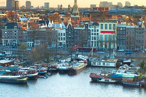 Amsterdam at colorful sunset