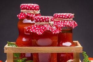 Bottles of tomato juice