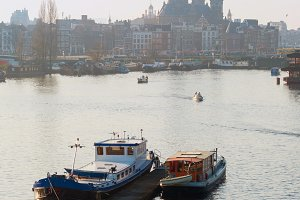 View of Amsterdam with boats