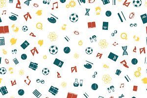 Colorful education icons pattern