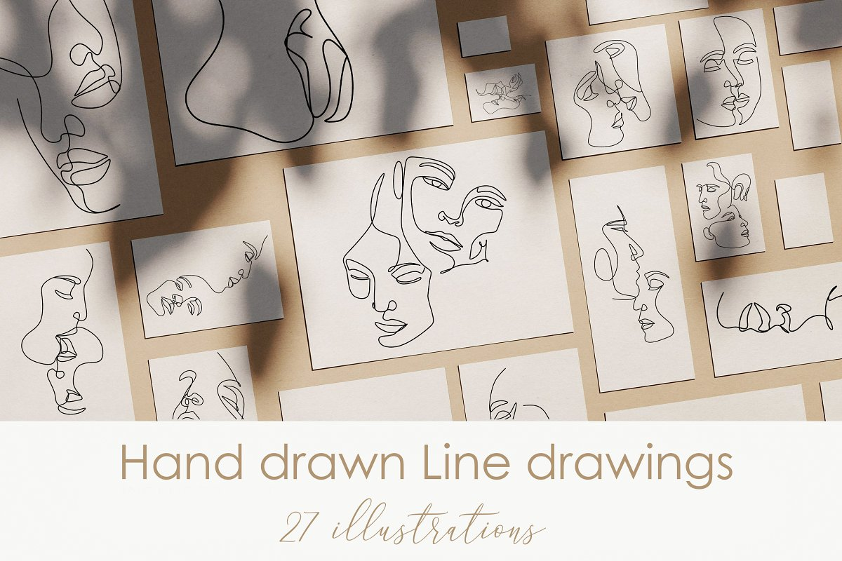 27 faces vector line illustrations