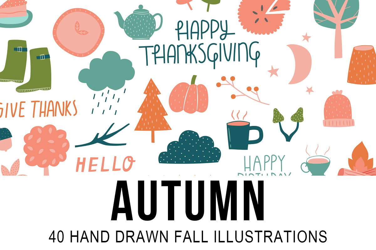 Autumn 40 Hand Drawn Fall Icons