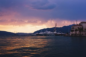 Sunset over mountains and Kotor Bay.