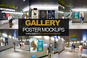 9 in 1 Gallery Poster Mockups PACK