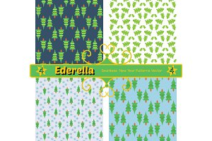 Set of 4 seamless new year patterns