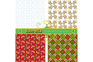Set of 4 new year seamless  patterns