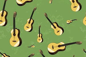 Acoustic guitars on green background